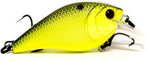 6th Sense Lures Crush 50X Square Bill Crankbait Chartreuse/Black Back