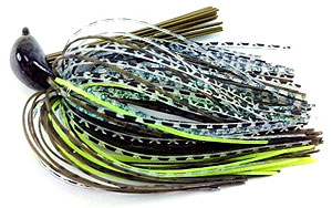 Fat Sack Tackle Rock Crawler Jig 02 - Dark Green Pumpkin Neon