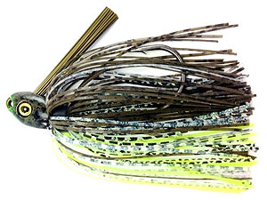 Fat Sack Tackle Switch Blade Swim Jig 02 - Dark Green Pumpkin Neon