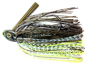 Fat Sack Tackle Swim Jig 02 - Dark Green Pumpkin Neon