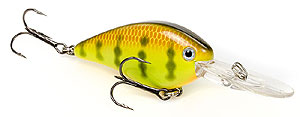 Strike King KVD 1.5 Flat Side Crankbait 650 - Chartreuse Perch