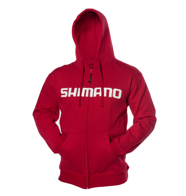 Shimano-Orion-Zip-Front-Hoodie-Red-Front-up