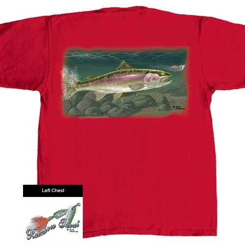 Flying Fisherman Rainbow Trout T1607 Short Sleeve T-Shirts