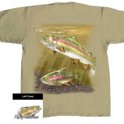 Flying Fisherman Rainbow Trout T1640 Short Sleeve T-Shirts