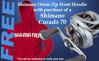 FREE Shimano Orion Zip Front Hoodie with Curado 70!!!